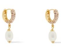 farbene Ohrringe mit Kristallen und Perlen
