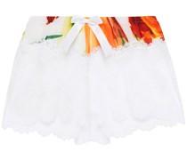 Pyjama-shorts aus Stretch-spitze mit Einsätzen aus Crêpe De Chine mit Stretch-anteil und Print