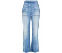 Faded High-rise Wide-leg Jeans