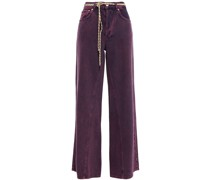 Belted Faded High-rise Wide-leg Jeans