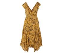 Dania Ruffled Floral-print Silk, Cotton And Lurex-blend Midi Dress
