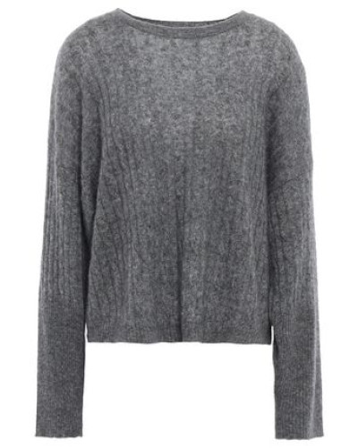 Mélange Cable-knit Cashmere And Silk-blend Sweater Charcoal