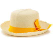 Woman Bow-embellished Frayed Toquilla Straw Sun Hat Marigold