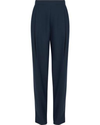Pleated Crepe Straight-leg Pants Navy