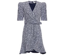Evelyn Wrap-effect Belted Floral-print Crepe Mini Dress