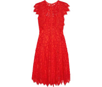Woman Corded Lace Mini Dress Red