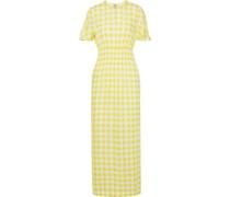 Aberdeen Shirred Checked Seersucker Maxi Dress Pastel Yellow