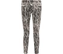 Mid-rise Printed Skinny Jeans Schwarz