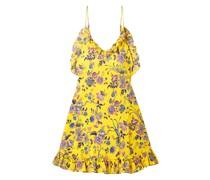 Ruffled Floral-print Silk-crepe Mini Dress