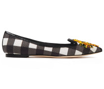 Crystal-embellished Checked Basketweave Point-toe Flats