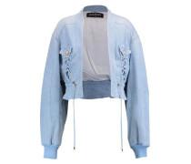 Eyelet-embellished denim jacket