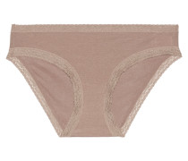 Marnie Low-rise Lace-trimmed Stretch-micro Modal Hipster Briefs Braun