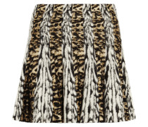 Pleated Jacquard Mini Skirt Grau