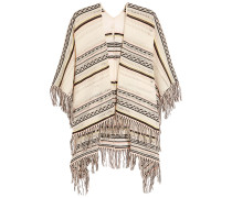 Fringed Pointelle-knit Cotton-blend Poncho Weiß