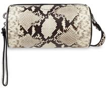 Barrel Snake-effect Leather Shoulder Bag