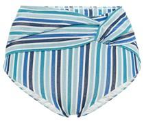 Hoch Sitzendes Bikini-höschen aus Seersucker mit Streifen und Twist-detail An Der Vorderseite