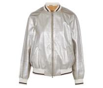 Metallic leather bomber jacket