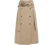 Twist-front Button-embellished Cotton-twill Midi Skirt