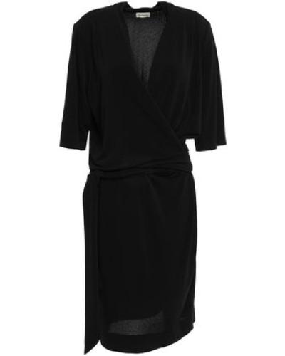 Qizi Wrap-effect Stretch-crepe Dress Black