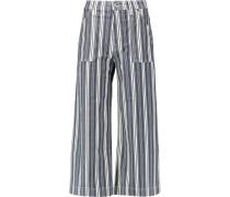 Cropped Striped Stretch-cotton Chambray Wide-leg Pants Rauchblau