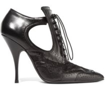 Cutout ankle boots in black leather and lace