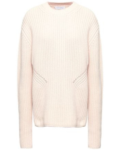 Woman Ribbed Merino Wool And Cashmere-blend Sweater Ecru