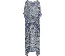 Crystal-embellished Printed Silk Crepe De Chine Kaftan