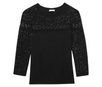 Embellished Lace-paneled Wool-blend Sweater Schwarz