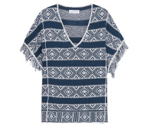 Fringed Cotton And Linen-blend Top Navy