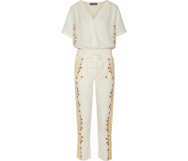 Sharlen Sequin-embellished Embroidered Cotton-gauze Jumpsuit Creme
