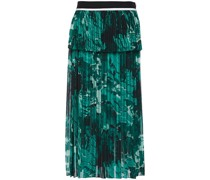 Pleated Printed Satin Crepe-paneled Chiffon Midi Skirt