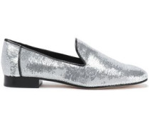 Sequinned leather slippers