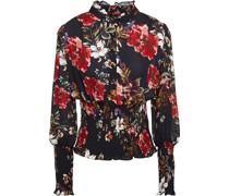 Bluse aus Crêpe De Chine aus Seide mit Floralem Print und Raffung