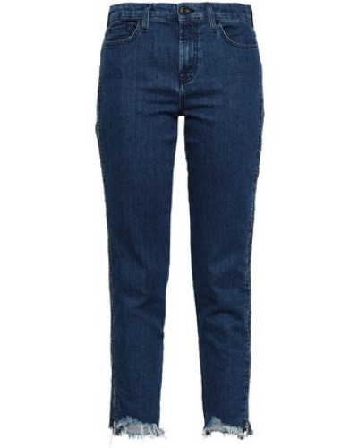 Cropped Mid-rise Slim-leg Jeans Dark Denim  4