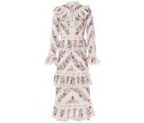 Honour Guipure Lace-trimmed Tiered Floral-print Cotton Midi Dress