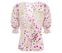 Anevy Ruffle-trimmed Floral-print Crepe Blouse