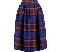 Pleated Checked Woven Midi Skirt Blau