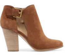 Adams buckled cutout suede ankle boots