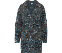 Oversized Jacquard-knit Wool-blend Coat Blau