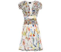Grosgrain-trimmed Ruffled Floral-print Silk Dress