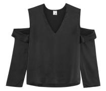 Cutout Washed-silk Top Schwarz