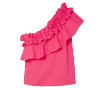 Esme One-shoulder Ruffled Cotton-blend Poplin Top