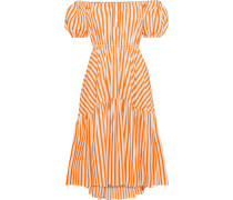Woman Bardot Off-the-shoulder Striped Cotton-blend Poplin Dress Orange