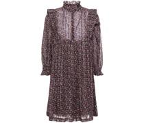 Bedrucktes Minikleid aus Chiffon mit Metallic-effekt und Rüschenbesatz