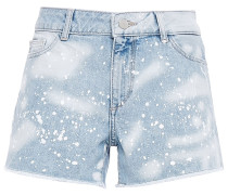 Woman Distressed Denim Shorts Light Denim