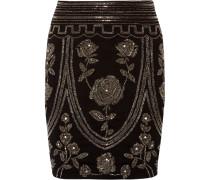 Embellished Cotton-blend Mini Skirt Schwarz
