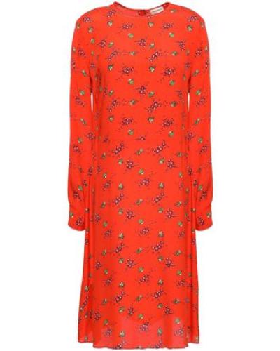 Floral-print Crepe De Chine Dress Tomato Red