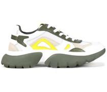 Sneakers aus Leder, Veloursleder und Mesh in Colour-block-optik