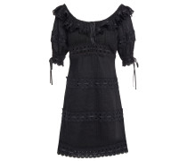 Honour Guipure Lace-trimmed Pintucked Cotton Mini Dress