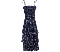 Tiered Shirred Polka-dot Cotton-voile Midi Dress